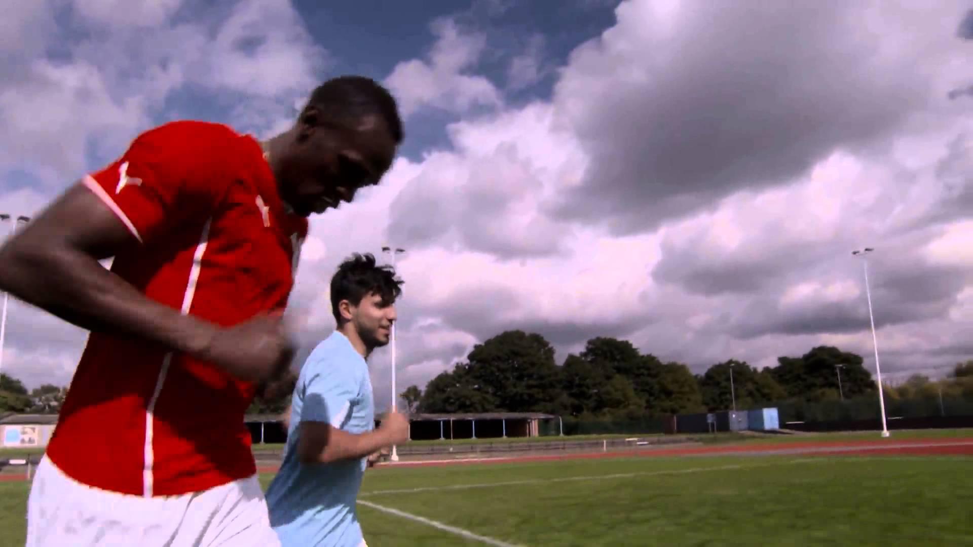 Usain Bolt traint Aguero