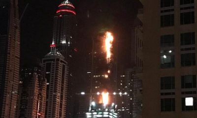 Dubai tower in fire